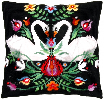 click here to view larger image of Zara, the Swan - Tapestry Cushion by La Maison Victor (counted cross stitch kit)