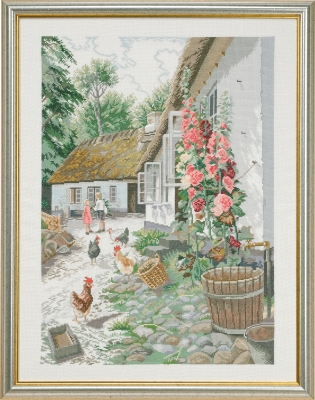 click here to view larger image of Hollyhocks (counted cross stitch kit)