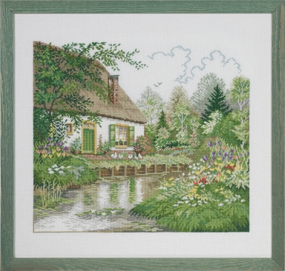 click here to view larger image of Cottage by a Stream (counted cross stitch kit)