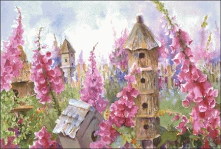 click here to view larger image of Foxgloves and Birdhouses (chart)