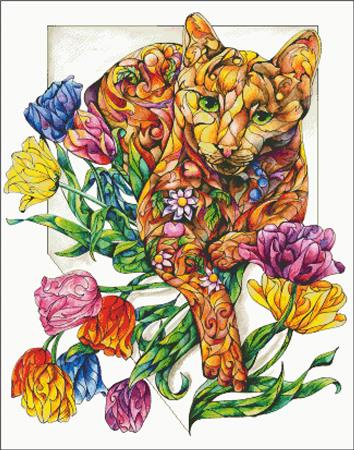 click here to view larger image of Spring Cat with Tulips (chart)