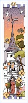 click here to view larger image of White Church - Sunset Bookmark (counted cross stitch kit)