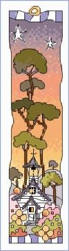 click here to view larger image of Small White Church - Sunset Bookmark (counted cross stitch kit)