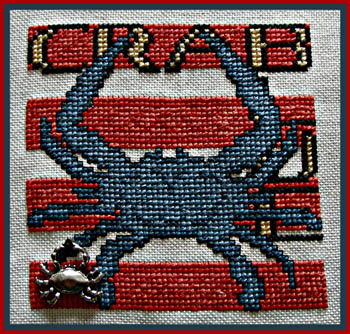click here to view larger image of WordPlay - Blue Crab (chart with charms/buttons)