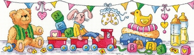 click here to view larger image of New Baby (Karen Carter Collection) - Aida (counted cross stitch kit)