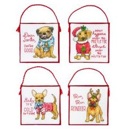 click here to view larger image of Christmas Pups Ornaments (counted cross stitch kit)