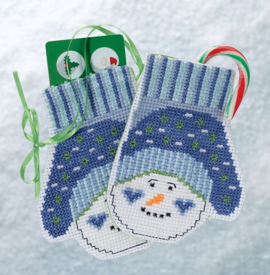 click here to view larger image of Snowman Mittens (2018) (counted cross stitch kit)