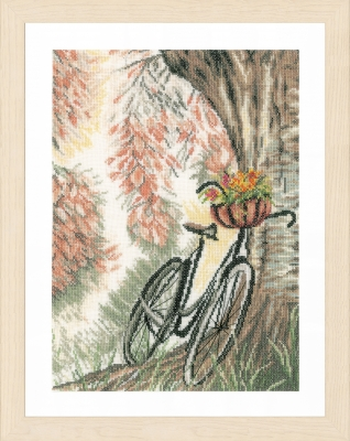 click here to view larger image of Bike and Flower Basket (counted cross stitch kit)