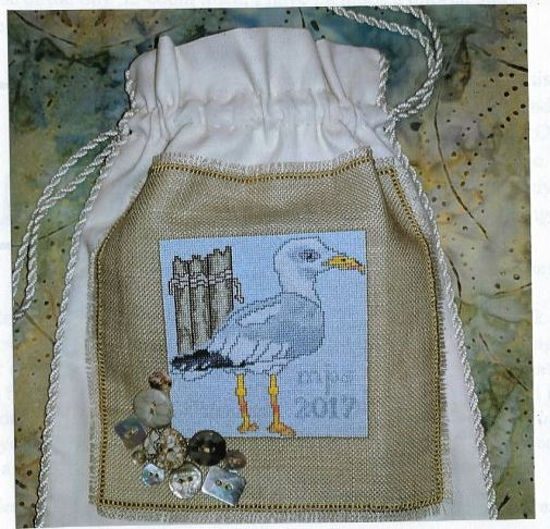 click here to view larger image of Stanley Seagull Stitching Drawstring Bag (counted cross stitch kit)