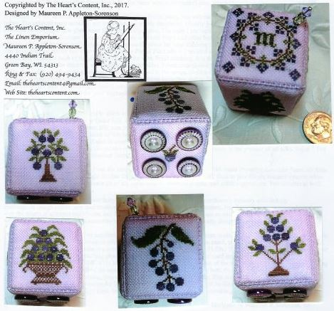 click here to view larger image of Blueberry Delight Pin Cube - Vintage III (counted cross stitch kit)