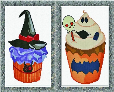 click here to view larger image of Halloween Cupcakes - 2 designs (chart)
