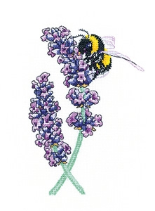 click here to view larger image of Lavender Bee (14ct) (counted cross stitch kit)