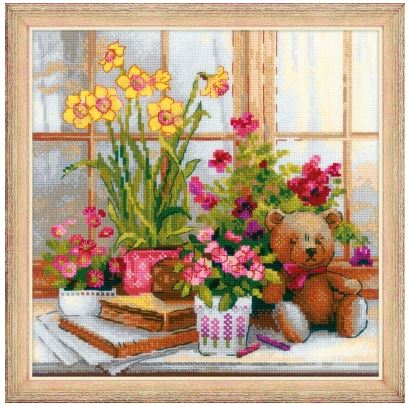 click here to view larger image of Daffodils On The Windowsill (counted cross stitch kit)