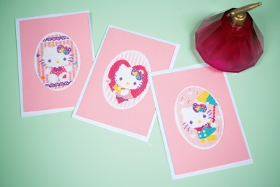 click here to view larger image of Hello Kitty Pastels Cards/Envelopes (set of 3) (counted cross stitch kit)