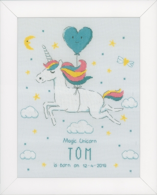 click here to view larger image of Magic Unicorn - Birth Announcement (counted cross stitch kit)