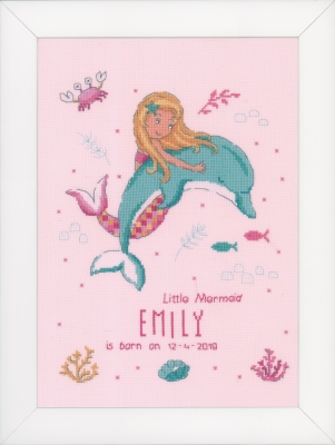 click here to view larger image of Little Mermaid and Dolphin - Birth Announcement (counted cross stitch kit)