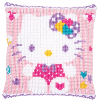 click here to view larger image of Hello Kitty Pastel Cushion (counted cross stitch kit)