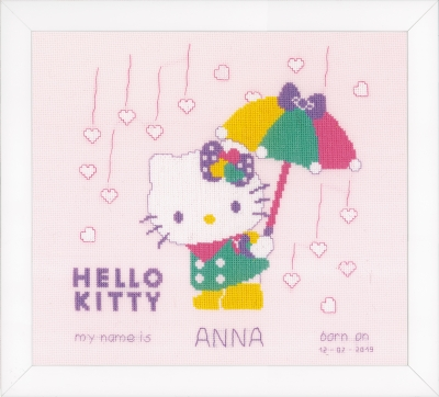 click here to view larger image of Hello Kitty - A Shower of Hearts - Birth Announcement (counted cross stitch kit)