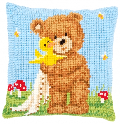 click here to view larger image of Popcorn and Souffle The Duck Cushion (counted cross stitch kit)