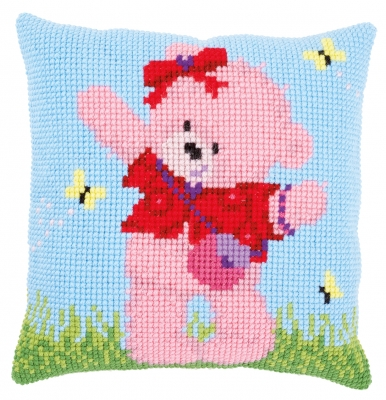 click here to view larger image of Popcorn Brie and Butterflies Cushion (counted cross stitch kit)
