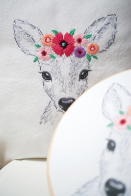 click here to view larger image of Deer with Flowers Embroidery (crewel kit)
