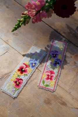 click here to view larger image of Violets Bookmark (set of 2) (counted cross stitch kit)