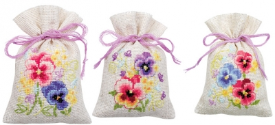 click here to view larger image of Violets Bags (set of 3) (counted cross stitch kit)