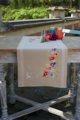 click here to view larger image of Violets Table Runner (counted cross stitch kit)