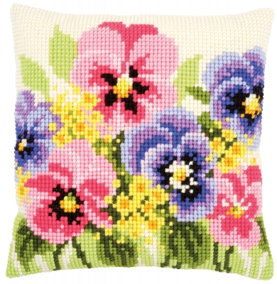 click here to view larger image of Violets Cushion (counted cross stitch kit)