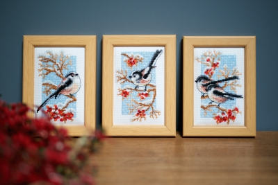click here to view larger image of Miniature Long-tailed Tits & Red Berries (set of 3) (counted cross stitch kit)