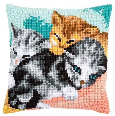 click here to view larger image of Cute Kittens Cushion (counted cross stitch kit)