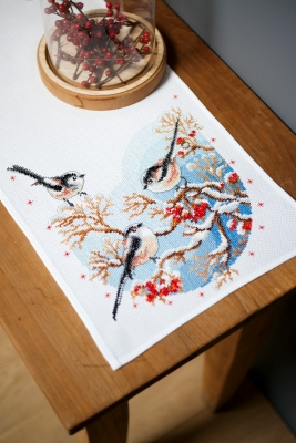 click here to view larger image of Long-tailed Tits & Red Berries Table Runner (counted cross stitch kit)