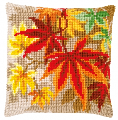 click here to view larger image of Autumn Leaves Cushion (counted cross stitch kit)