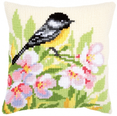 click here to view larger image of Tit and Blossom Cushion (counted cross stitch kit)