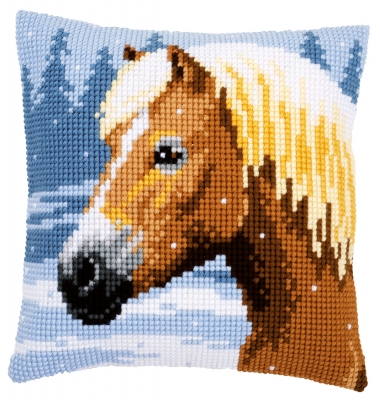 click here to view larger image of Horse and Snow Cushion (counted cross stitch kit)