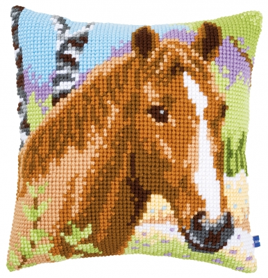 click here to view larger image of Brown Mare Cushion (counted cross stitch kit)
