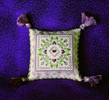 click here to view larger image of Plum Fancy Pincushion (w/charms) (chart)