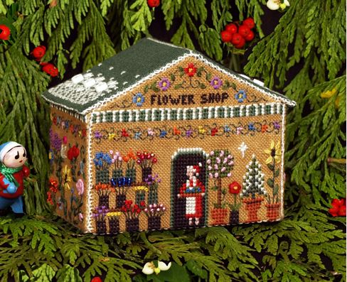 click here to view larger image of Gingerbread Flower Shop Student Kit (counted cross stitch kit)