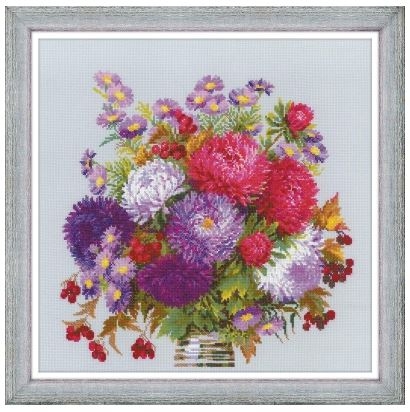 click here to view larger image of Bouquet with Asters (counted cross stitch kit)
