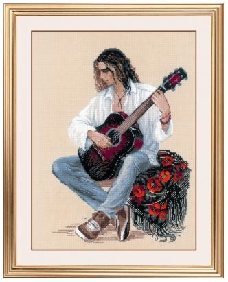 click here to view larger image of Guitarist (counted cross stitch kit)
