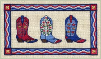 click here to view larger image of Red, White and Blue Boots (counted canvas chart)