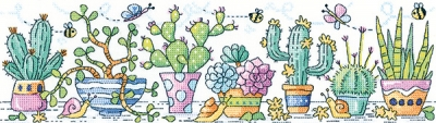 click here to view larger image of Cactus Garden - 14ct Aida (counted cross stitch kit)