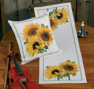click here to view larger image of Sun Flowers Pillow (Left) (counted cross stitch kit)