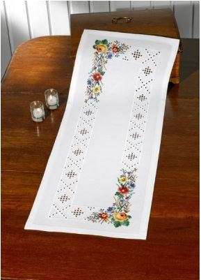 click here to view larger image of Hardanger Flowers - Table Runner (None Selected)
