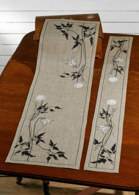 click here to view larger image of Silhouette Clematis - Table Runner (left) (counted cross stitch kit)