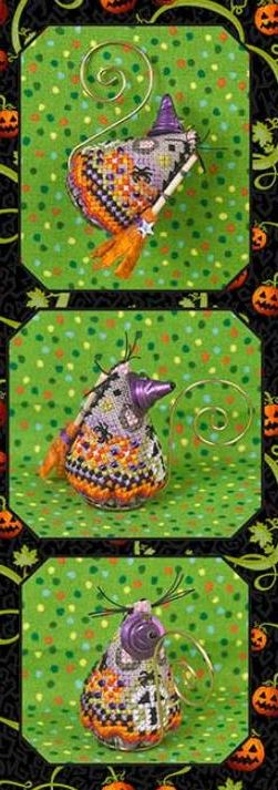 click here to view larger image of Hazel Fun Witch Mouse Ornament (counted cross stitch kit)