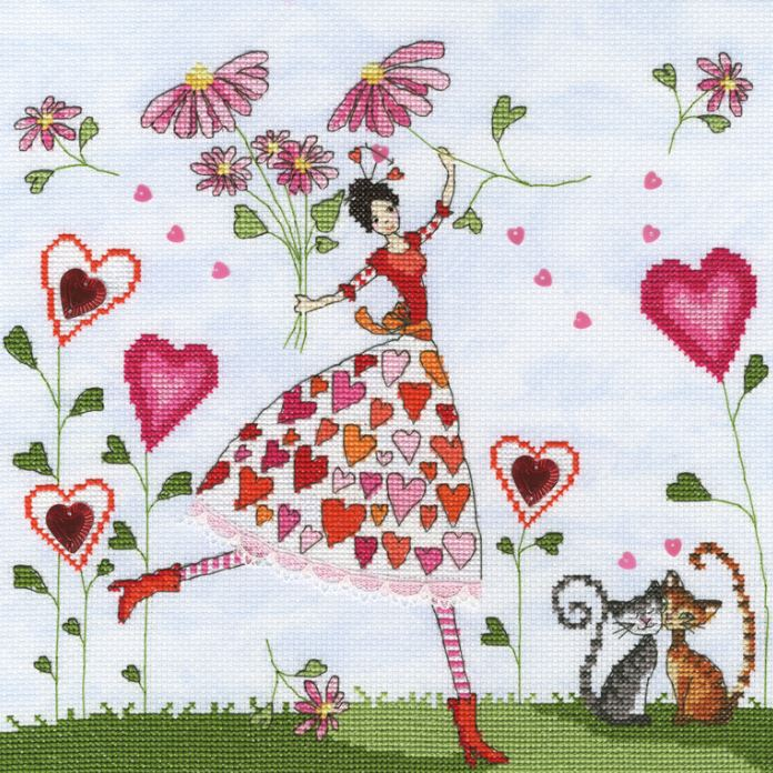 click here to view larger image of Miss Heart (counted cross stitch kit)