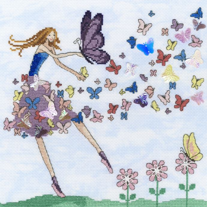 click here to view larger image of Butterfly Dance (counted cross stitch kit)