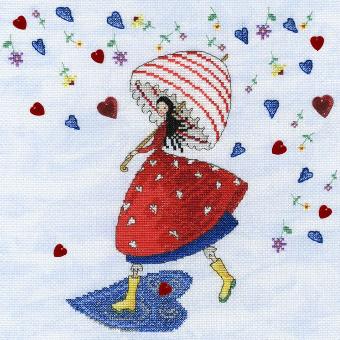 click here to view larger image of Flower Rain (counted cross stitch kit)