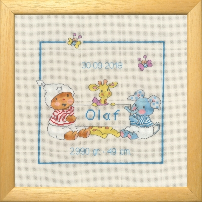 click here to view larger image of Bobbi Olaf - Birth Announcement (counted cross stitch kit)